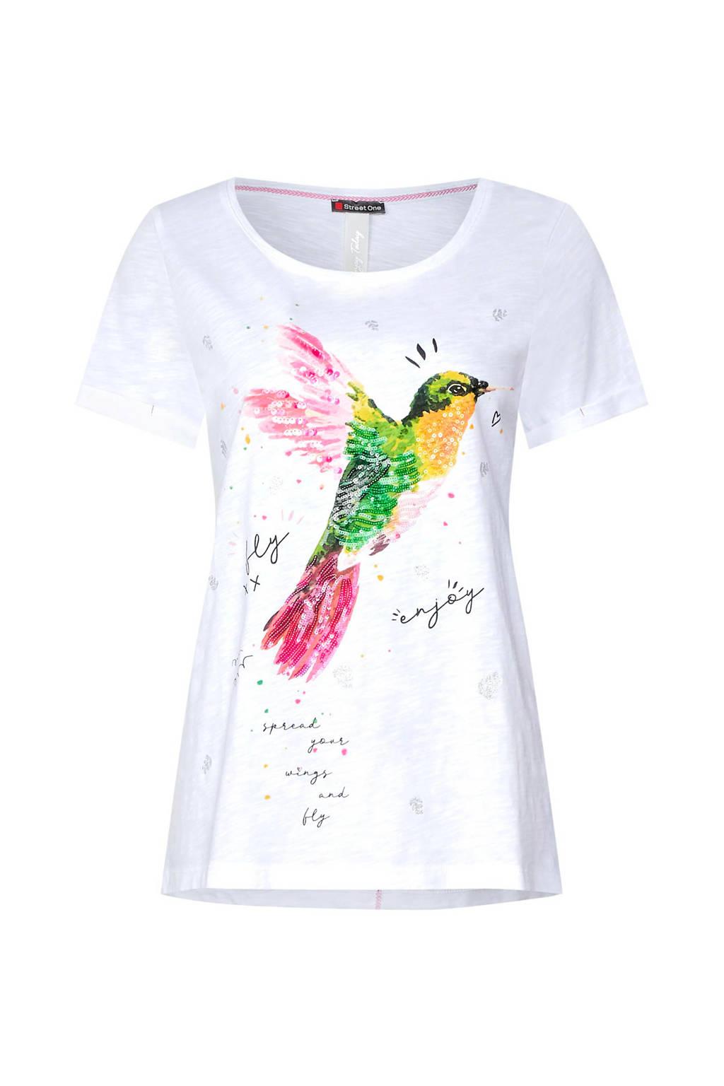 Street One T-shirt met printopdruk en pailletten, Wit/roze/groen