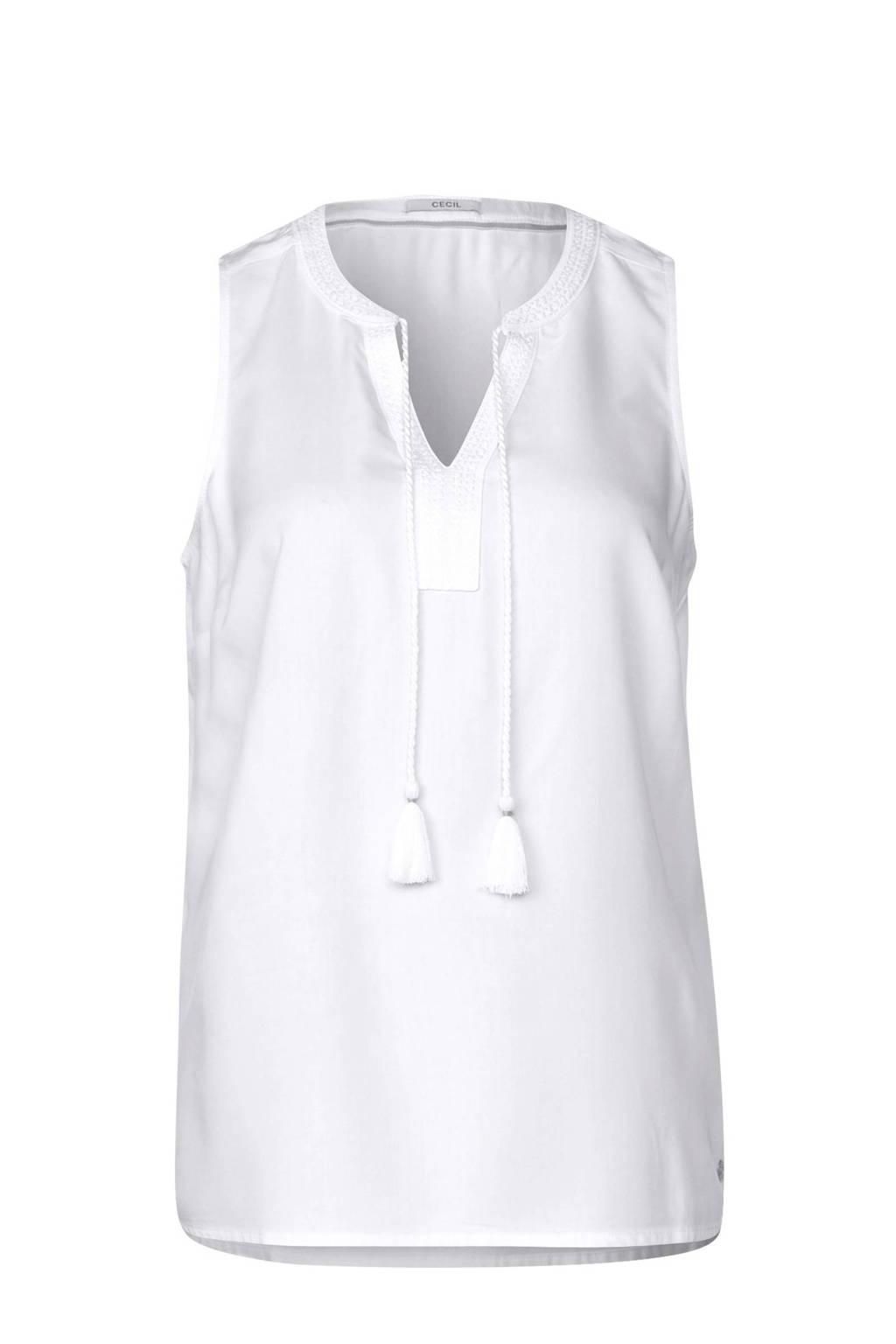 CECIL mouwloze top met franjes wit, Wit