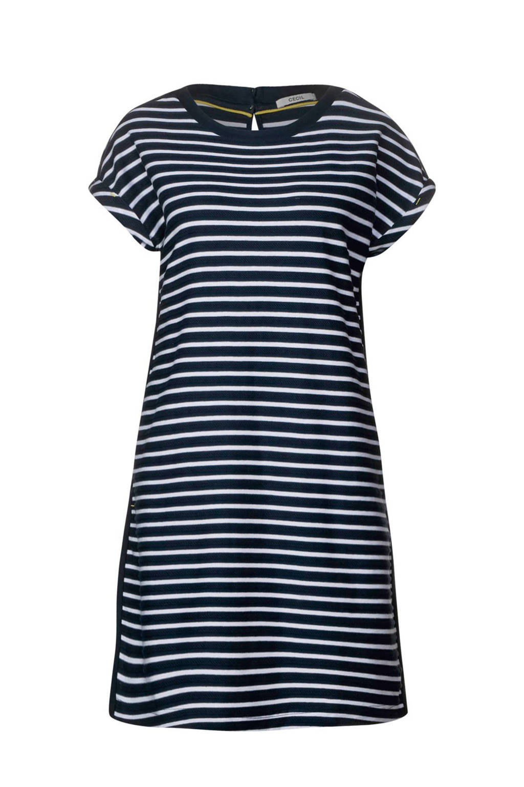 CECIL gestreepte jurk donkerblauw, Donkerblauw/ecru