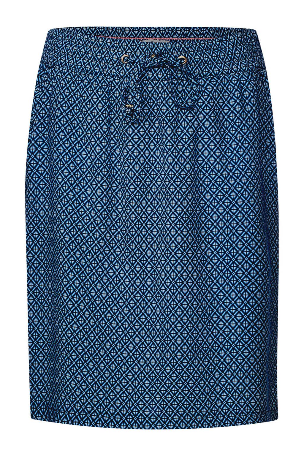 CECIL rok met al over print blauw, Blauw/wit