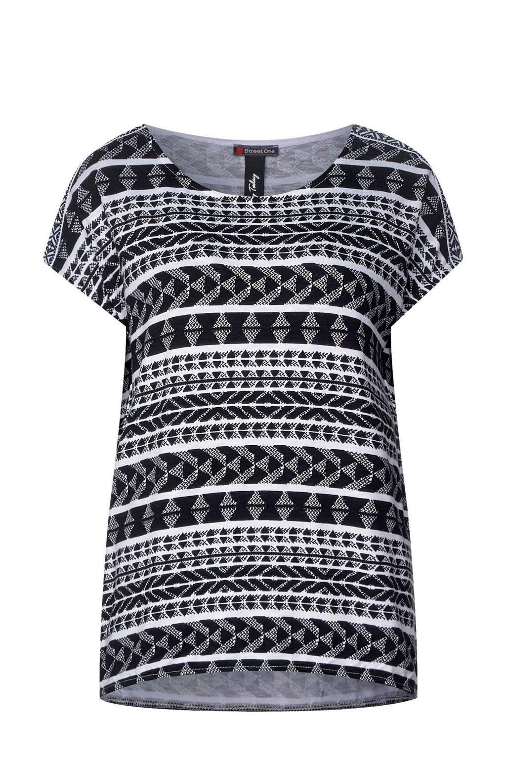 Street One T-shirt met printopdruk en pailletten, Zwart/groen/roze