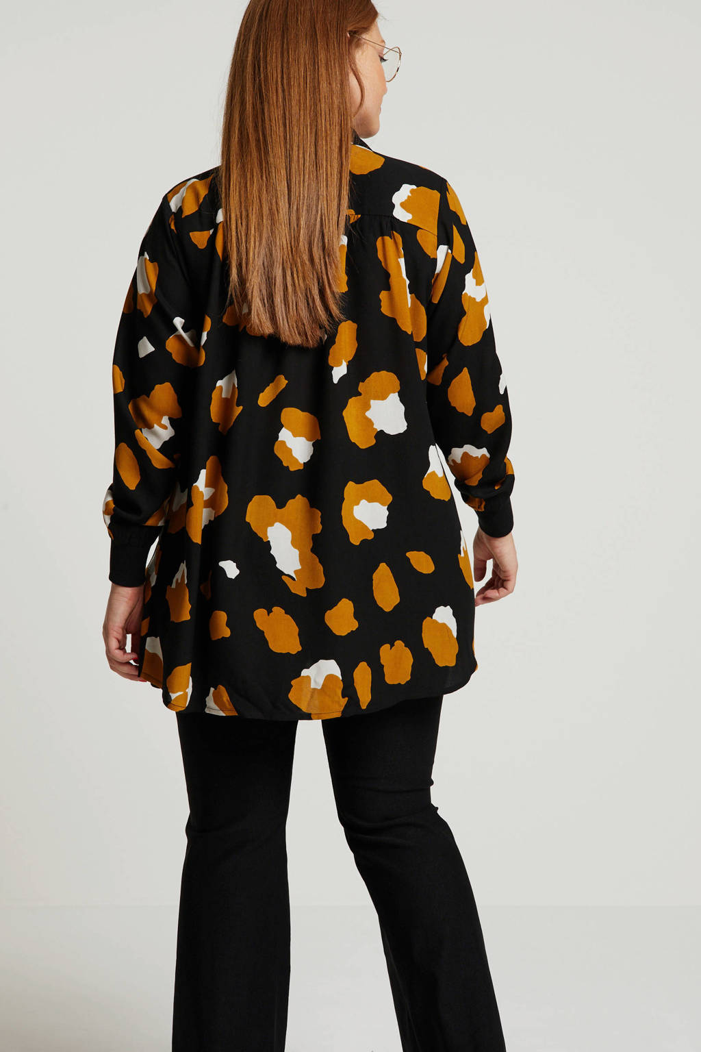 Zoey blouse Filippa  met all over print zwart/bruin/ecru, Zwart/bruin/ecru