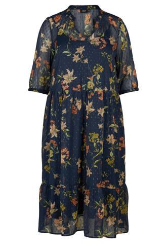 jurk met bloemenprint donkerblauw