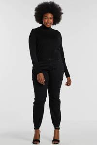 Zizzi regular fit cargobroek zwart, Zwart