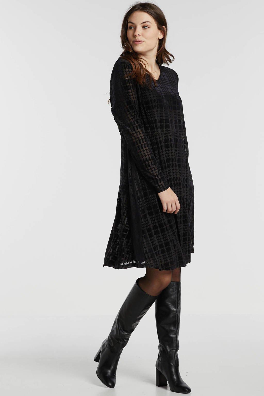 Zizzi geruite velours jurk zwart, Zwart