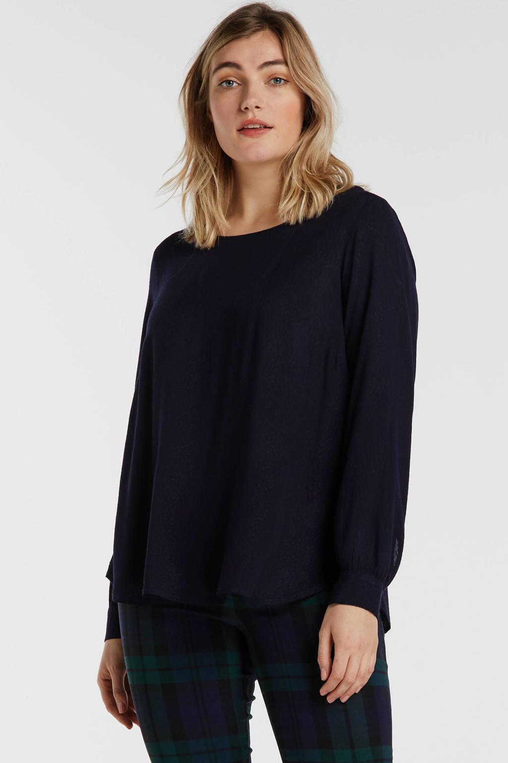Zizzi blouse donkerblauw, Donkerblauw