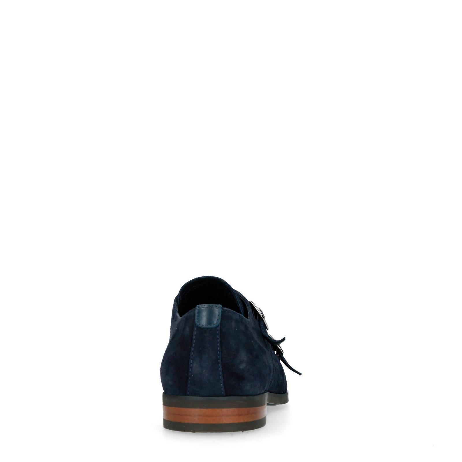 Manfield suède gespschoenen donkerblauw