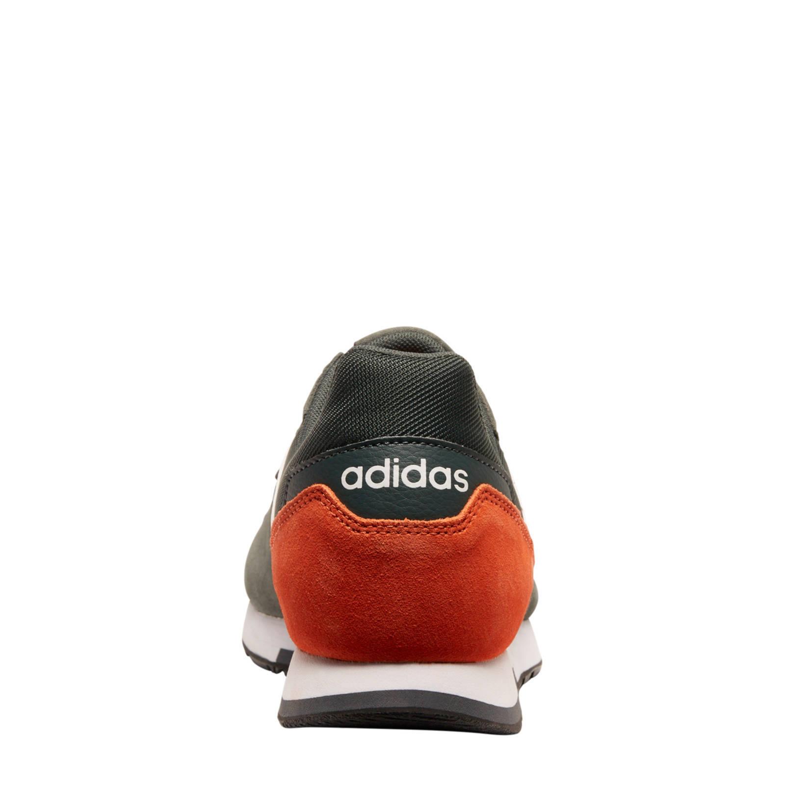 8K leren sneakers zwartoranjewit