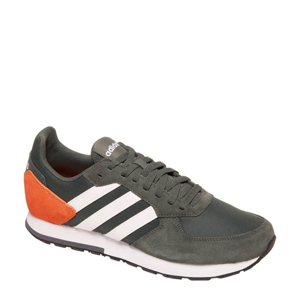 adidas 8K leren sneakers zwart/oranje/wit, Zwart/oranje/wit