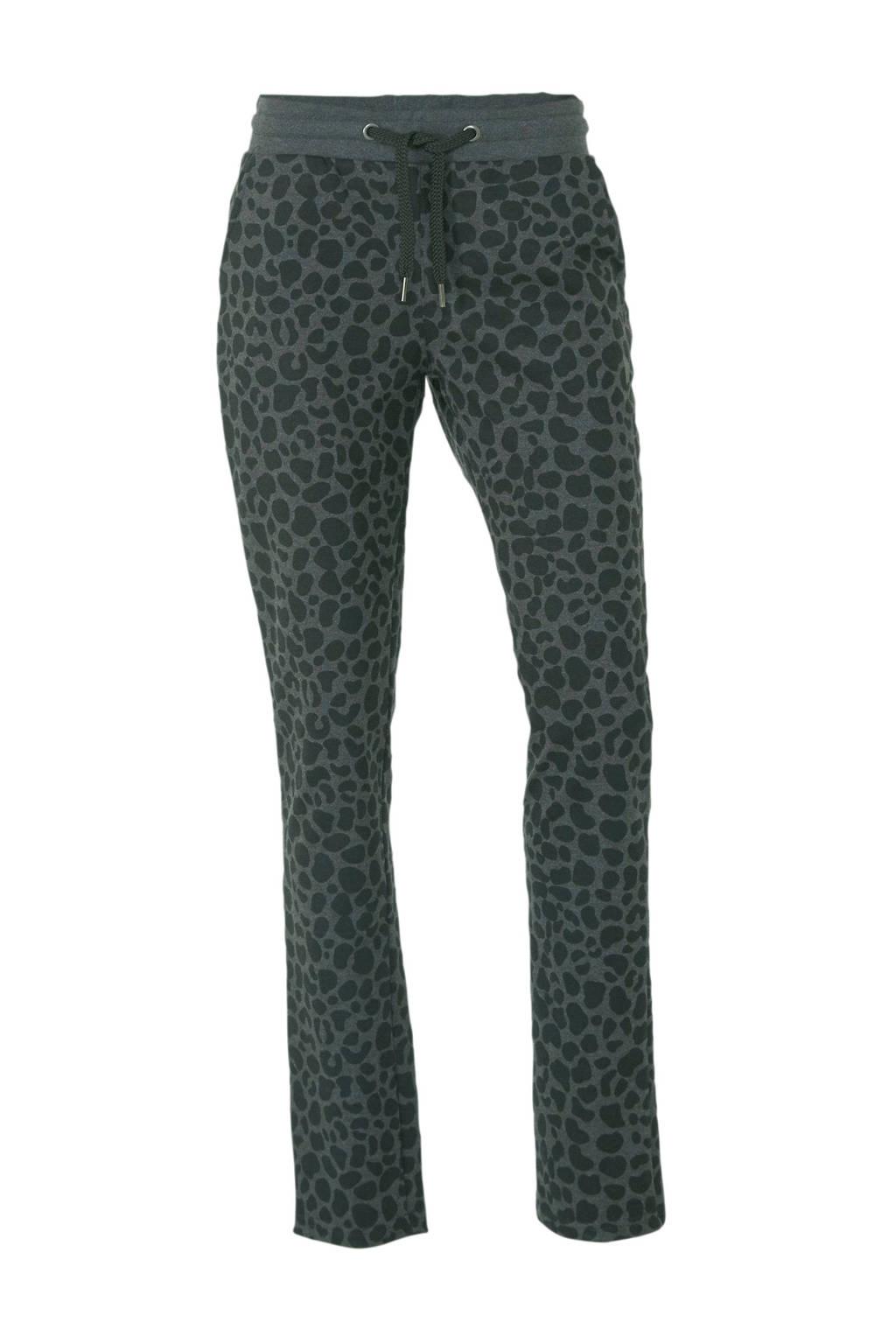 Donnay fleece sportbroek panterprint, Grijs/zwart