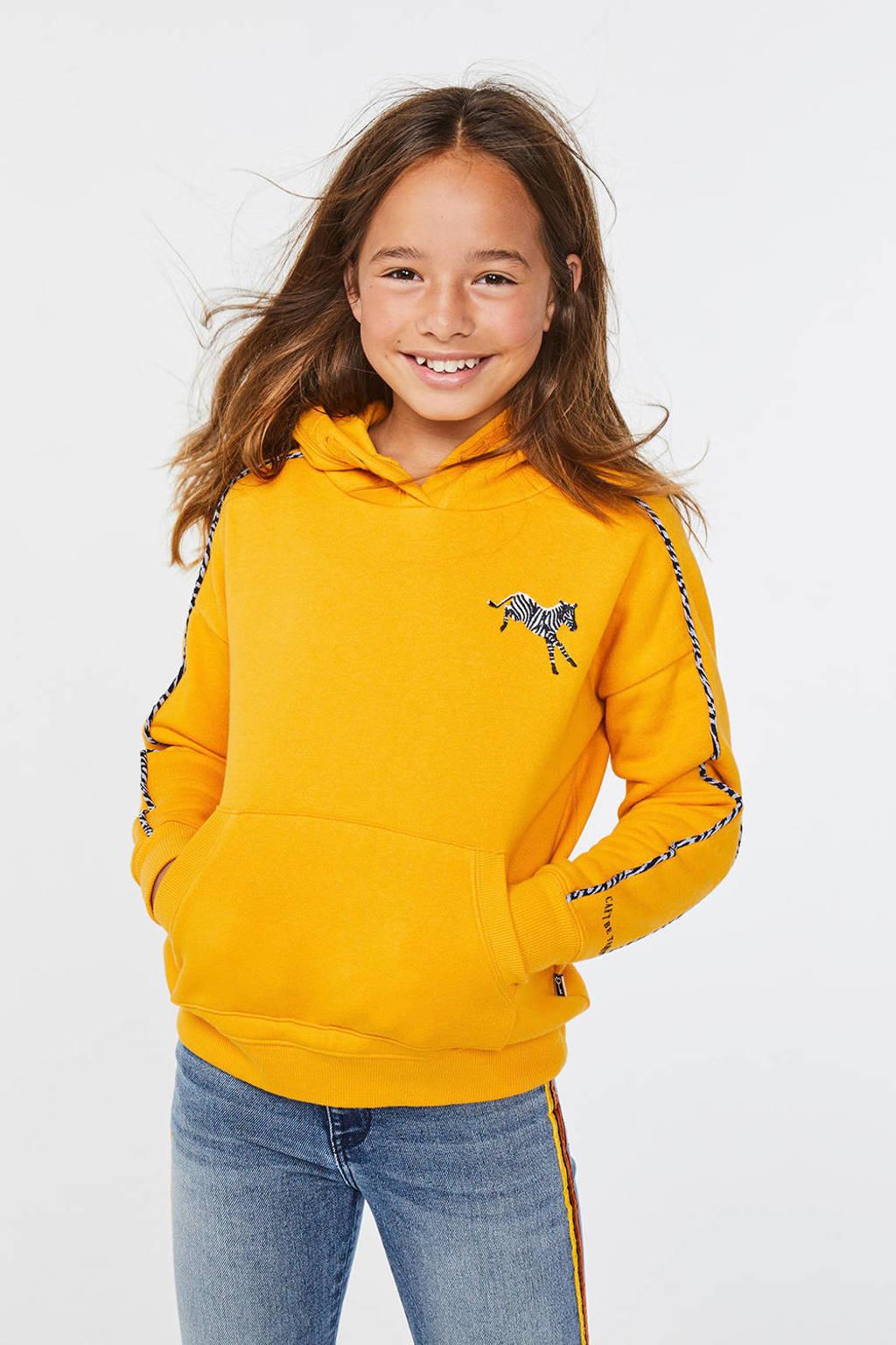 WE Fashion hoodie met contrastbies okergeel, Okergeel
