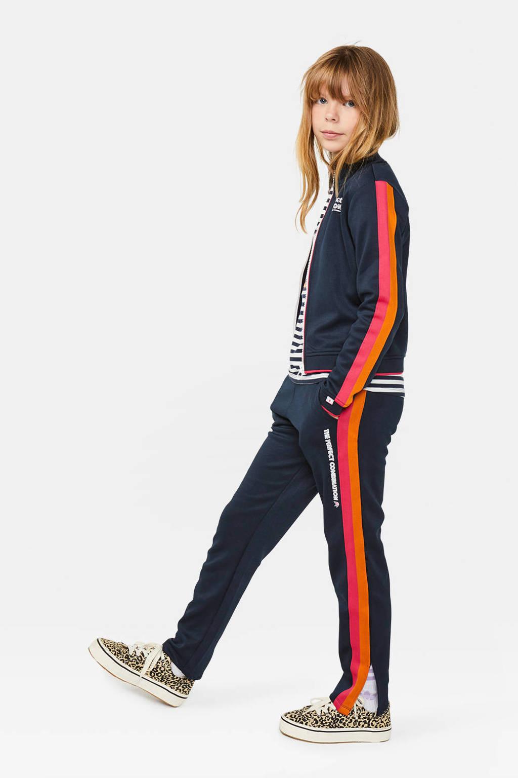 WE Fashion tapered fit broek met zijstreep donkerblauw/roze/oranje, Donkerblauw/roze/oranje