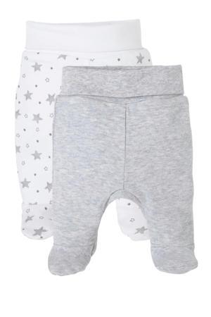 newborn baby broek - set van 2 lichtgrijs/wit
