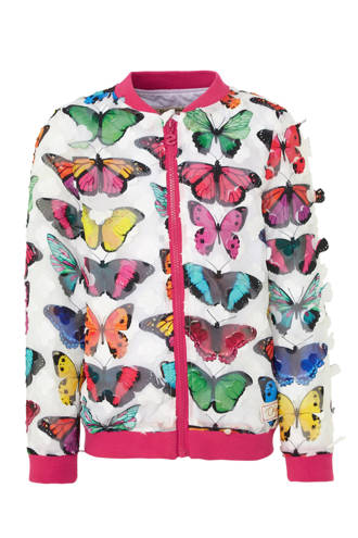 bomberjack met vlinders wit
