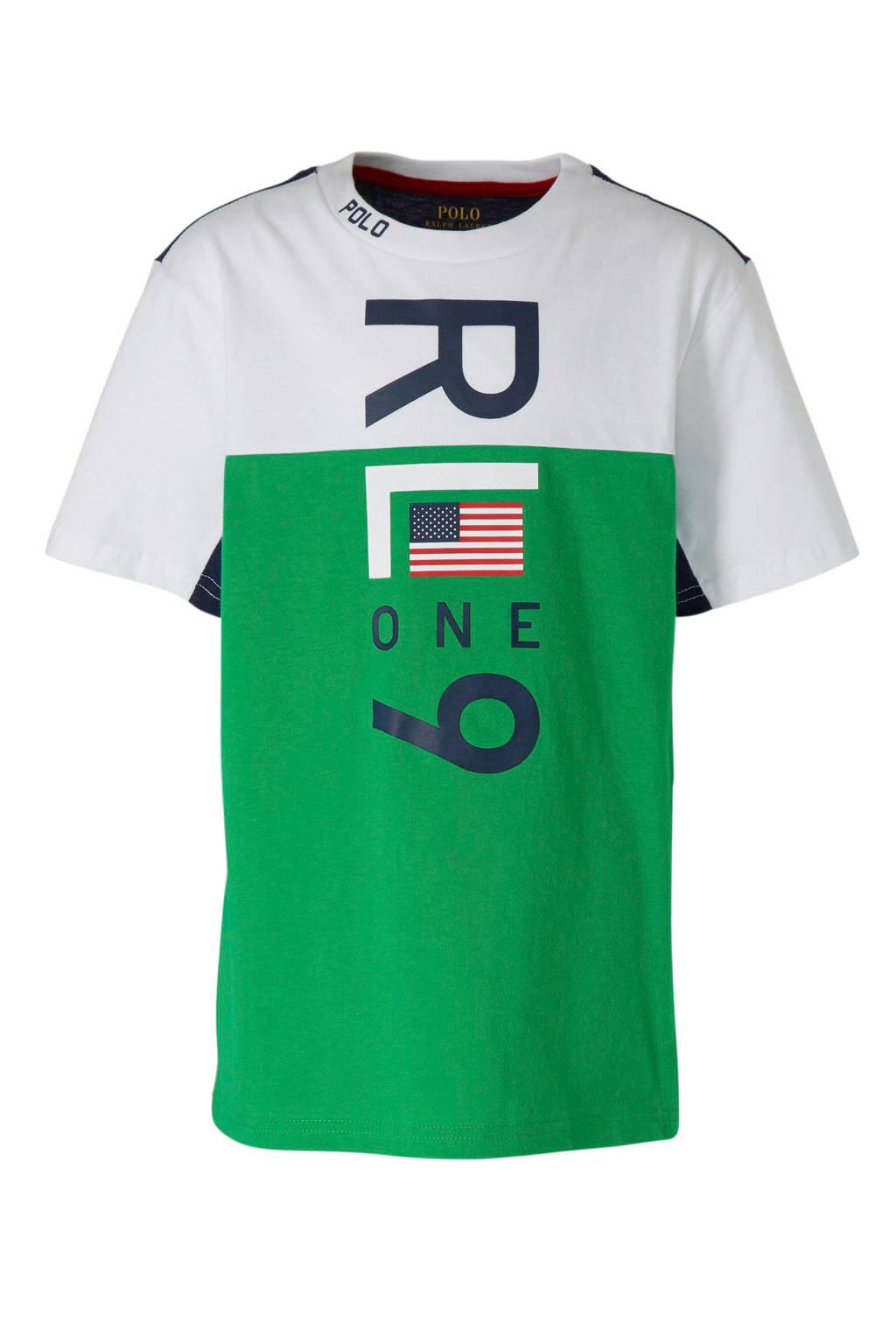 POLO Ralph Lauren T-shirt met tekst groen, Groen/wit/donkerblauw