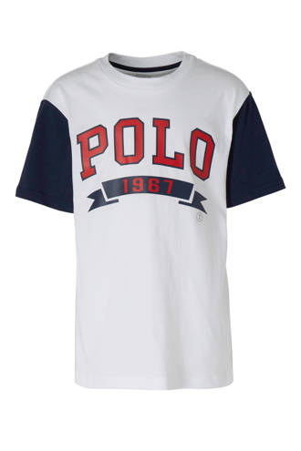 T-shirt met logo wit/donkerblauw