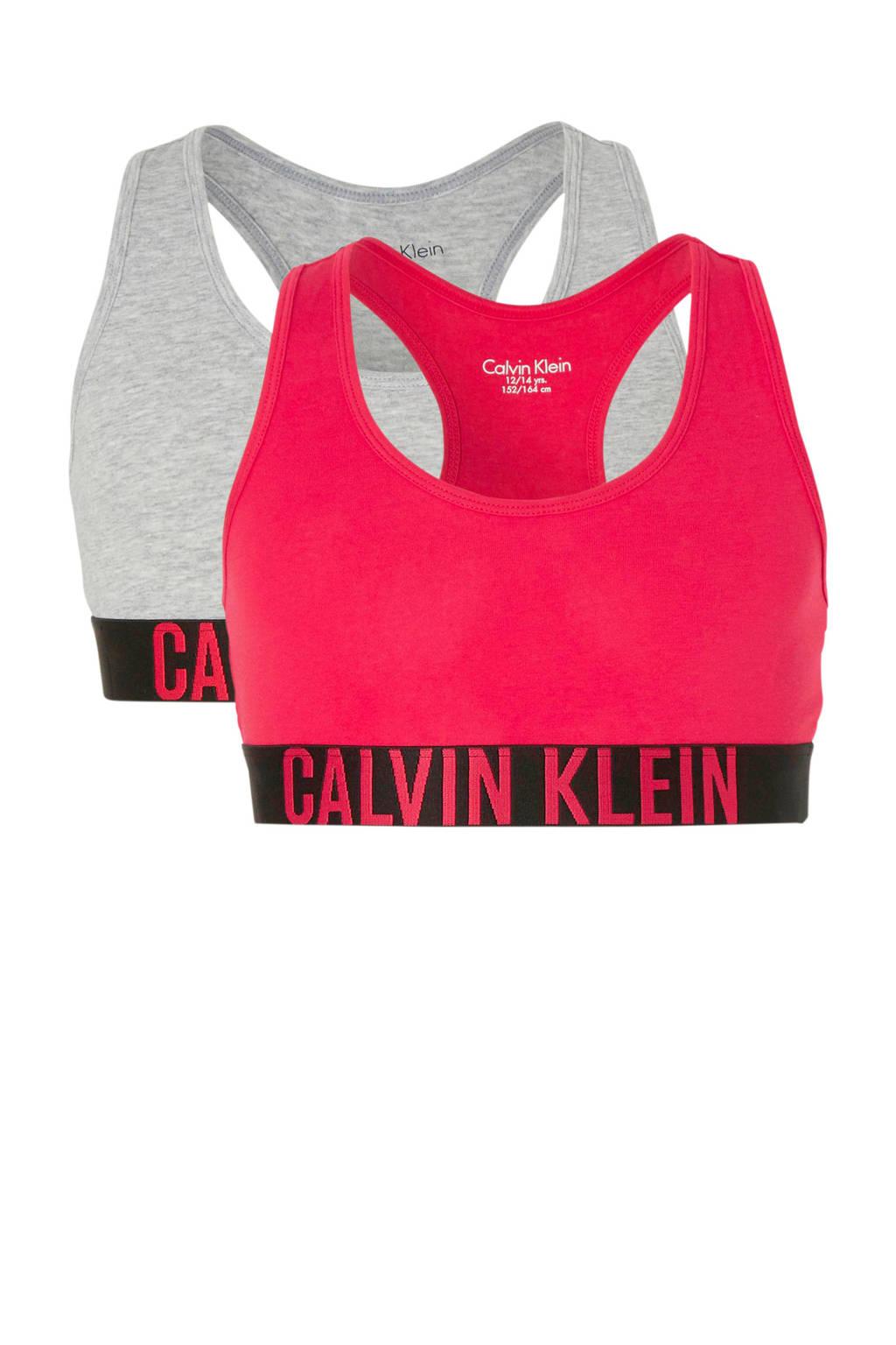 Calvin Klein Underwear bh top - set van 2 fuchsia/grijs melange, Fuchsia/grijs melange