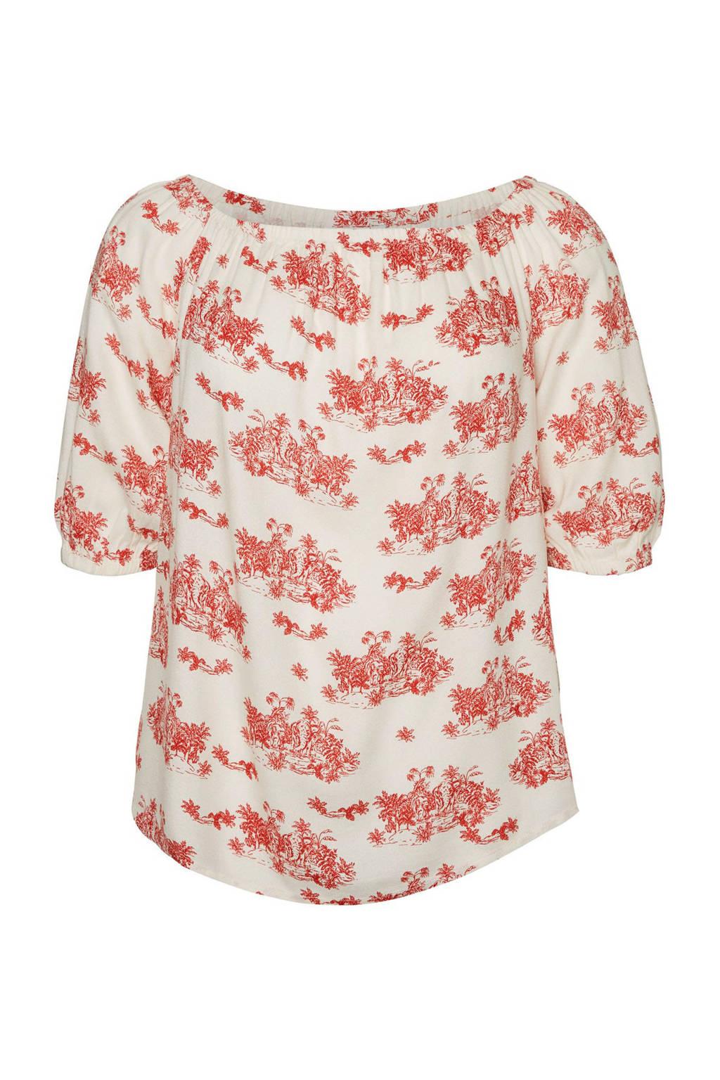 JUNAROSE off shoulder top met all over print wit/rood, Wit/rood