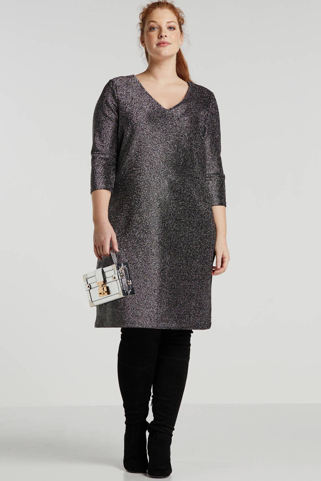 JUNAROSE jurk met open detail zwart, Zwart
