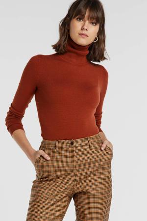 geruite straight fit pantalon bruin