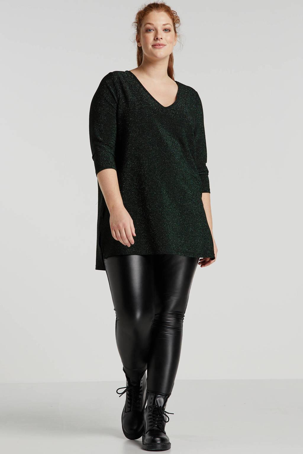 JUNAROSE glittertop zwart/groen, Zwart/groen