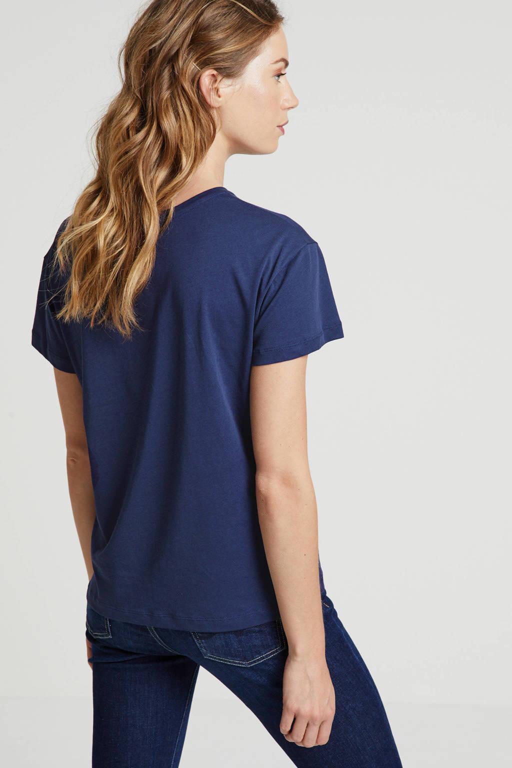 ARMEDANGELS T-shirt met printopdruk donkerblauw multi, Donkerblauw multi