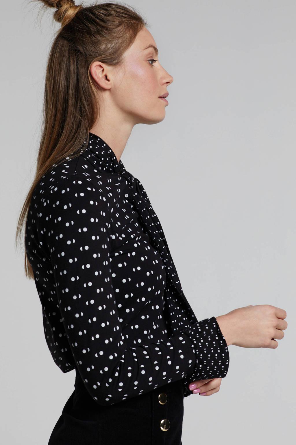 People Tree blouse met stippen zwart, Zwart