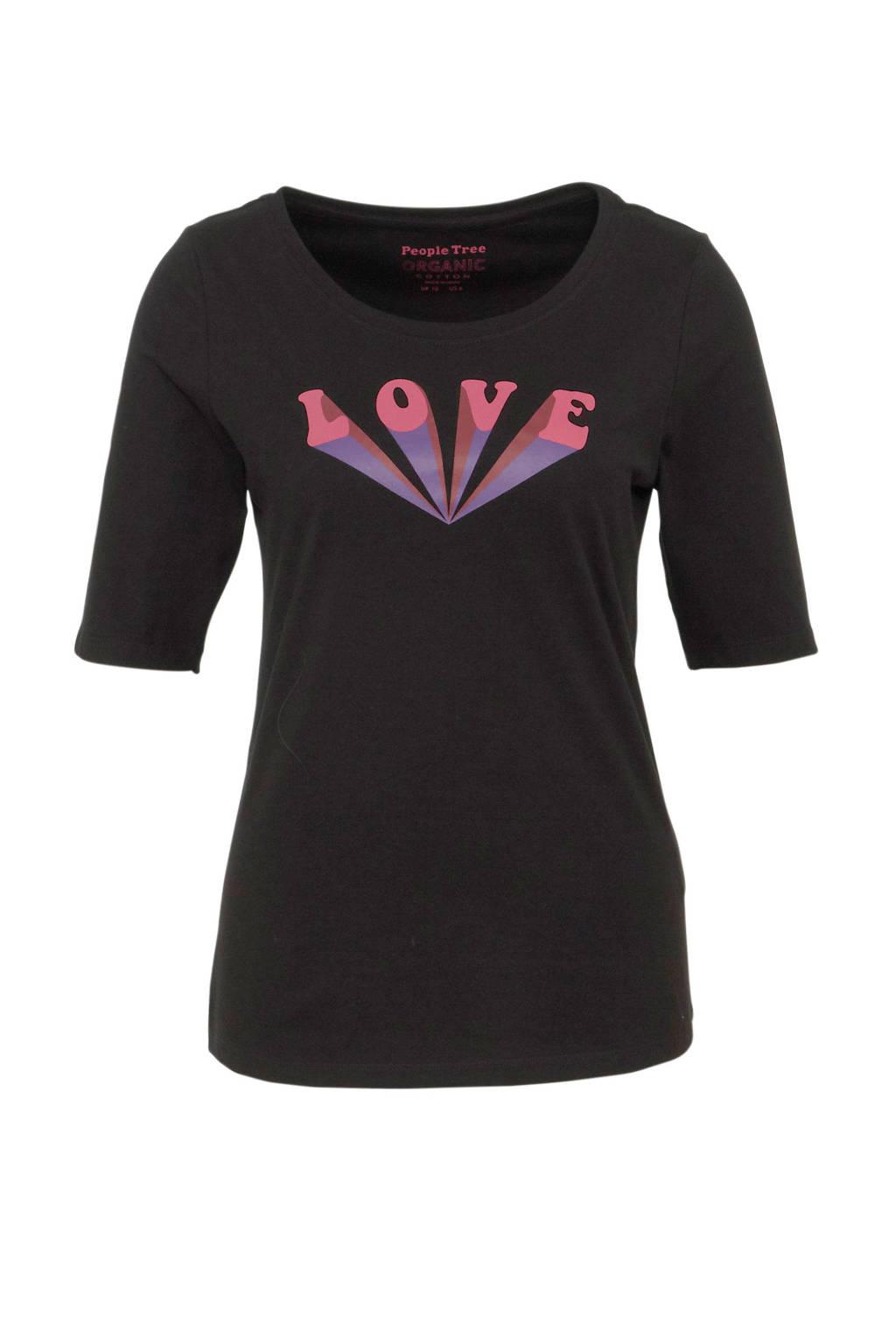 People Tree T-shirt van biologisch katoen zwart, Zwart