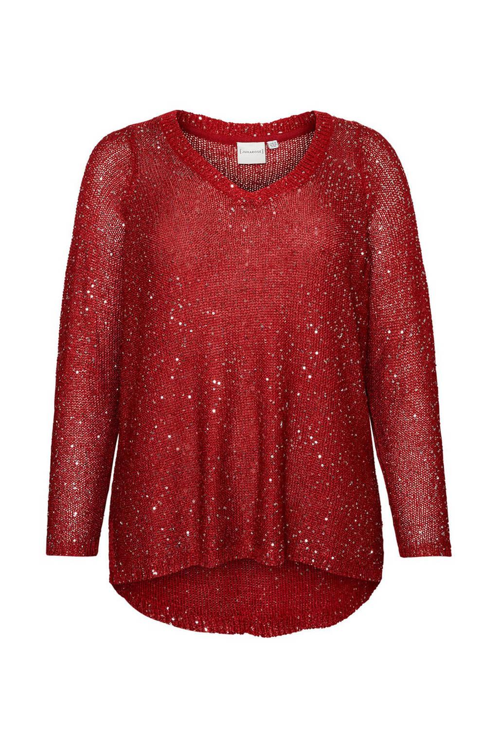JUNAROSE trui Pilou met pailletten rood, Rood