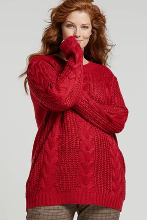grofgebreide trui rood