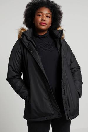 winterjas zwart/bruin