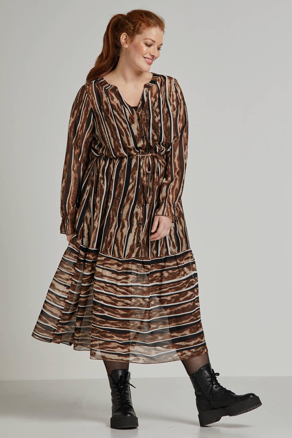 Zizzi semi-transparante jurk met dierenprint en ceintuur bruin/zwart, Bruin/zwart