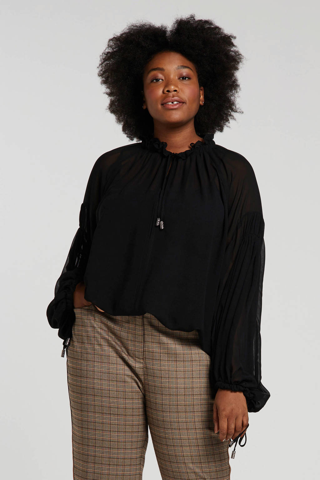 Mat Fashion semi-transparante top zwart, Zwart