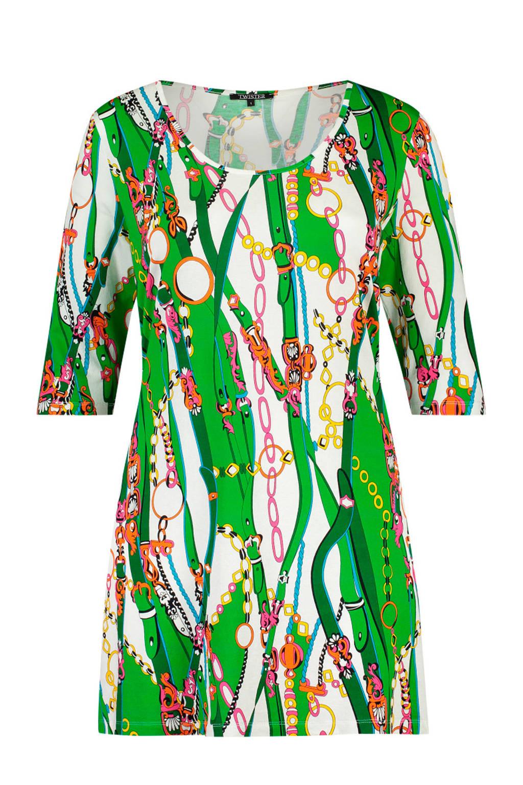 Twister tuniek met all over print groen, Groen