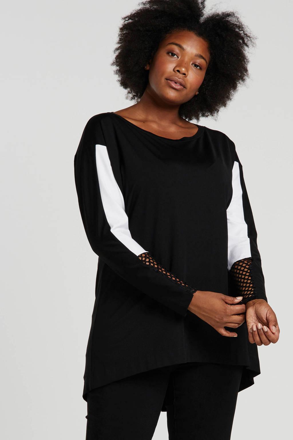 Mat Fashion top met printopdruk en mesh zwart/wit, Zwart/wit