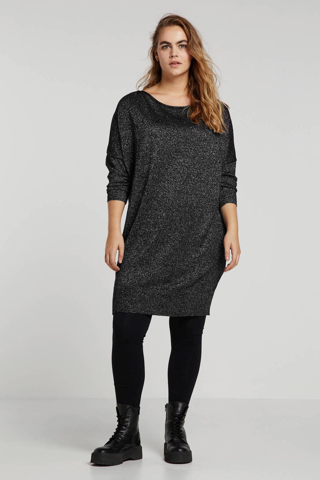 Mat Fashion glittertop zwart, Zwart