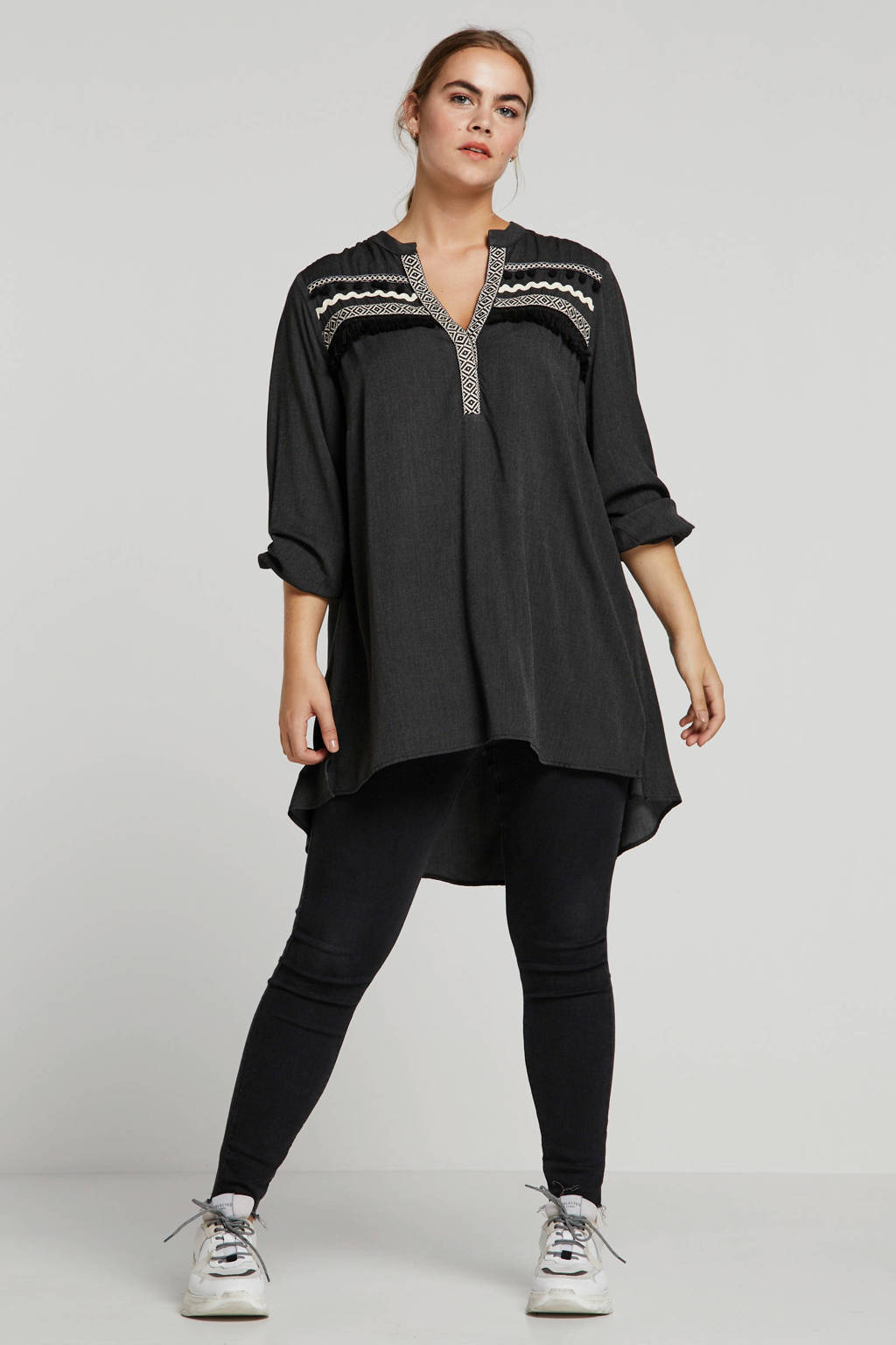Mat Fashion top met franjes antraciet, Antraciet