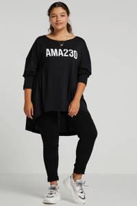 Mat Fashion top met tekst zwart/wit, Zwart/wit