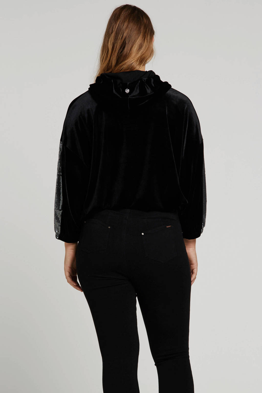 Mat Fashion fluwelen trui met pailletten zwart, Zwart