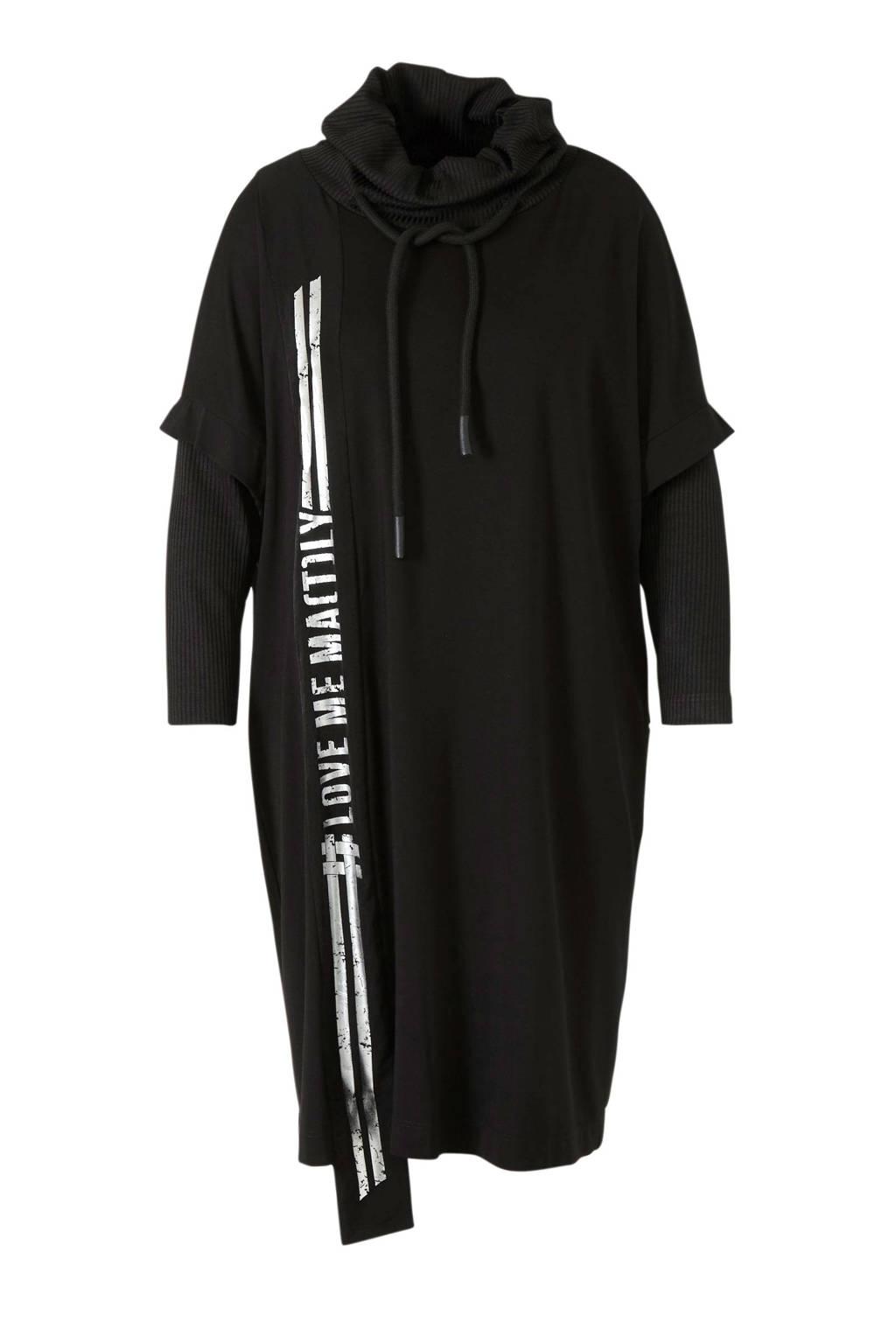 Mat Fashion jersey jurk zwart, Zwart