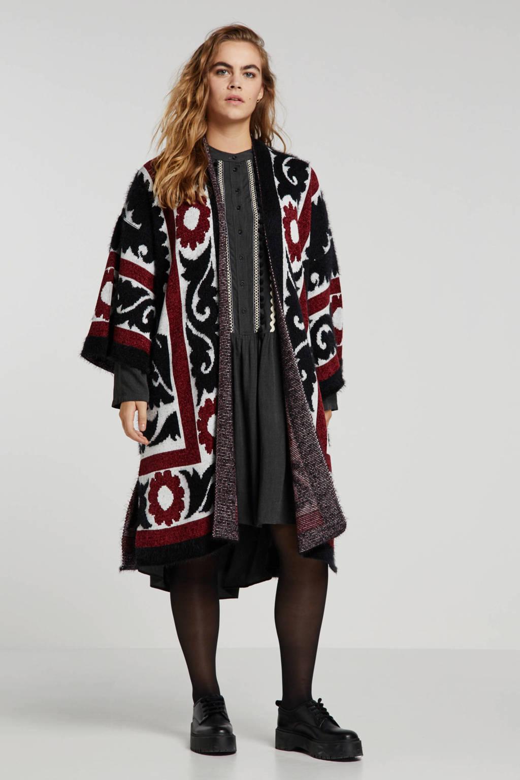 Mat Fashion vest met all over print donkerrood/zwart/wit, Donkerrood/zwart/wit