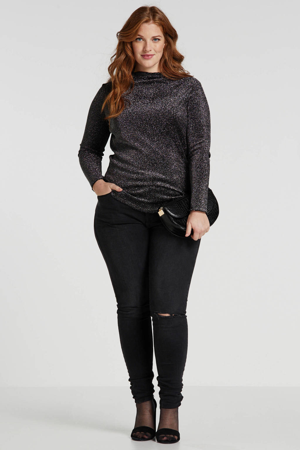 LTB Plus high waist super skinny jeans Arly met slijtage antraciet, Antraciet
