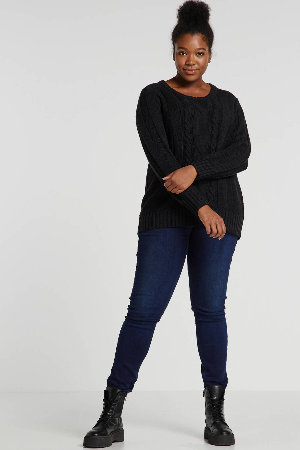 LTB Plus high waist super skinny jeans Arly donkerblauw, Donkerblauw