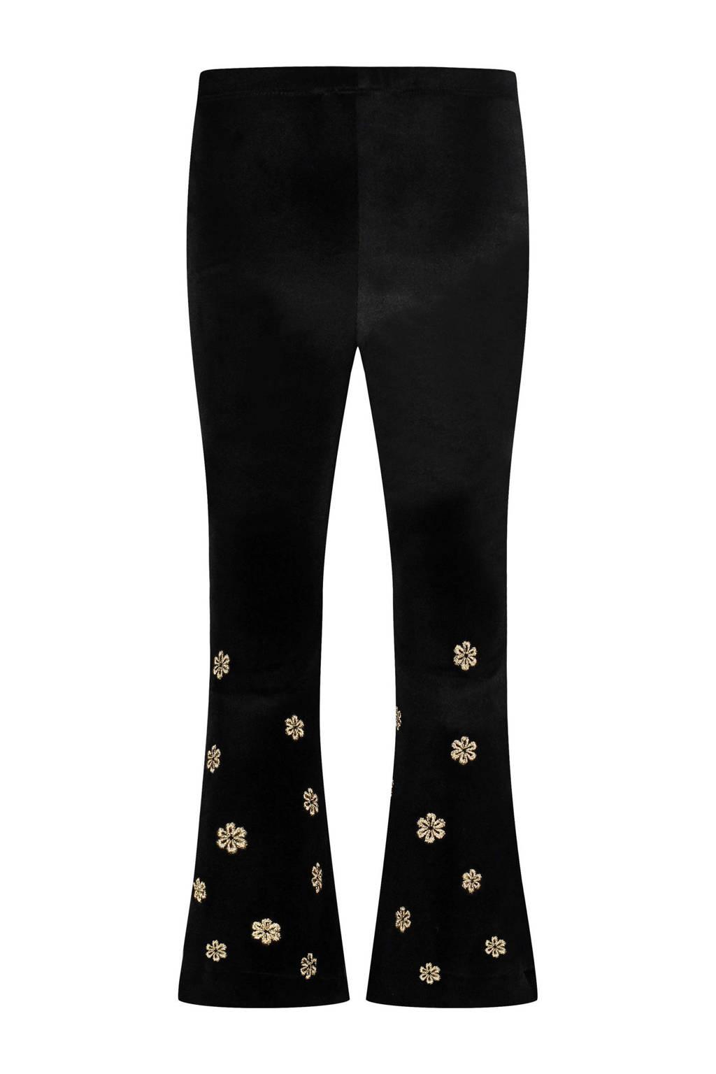 Catwalk Junkie x Huismuts flared broek Golden Flower met panterprint en borduursels zwart, Zwart