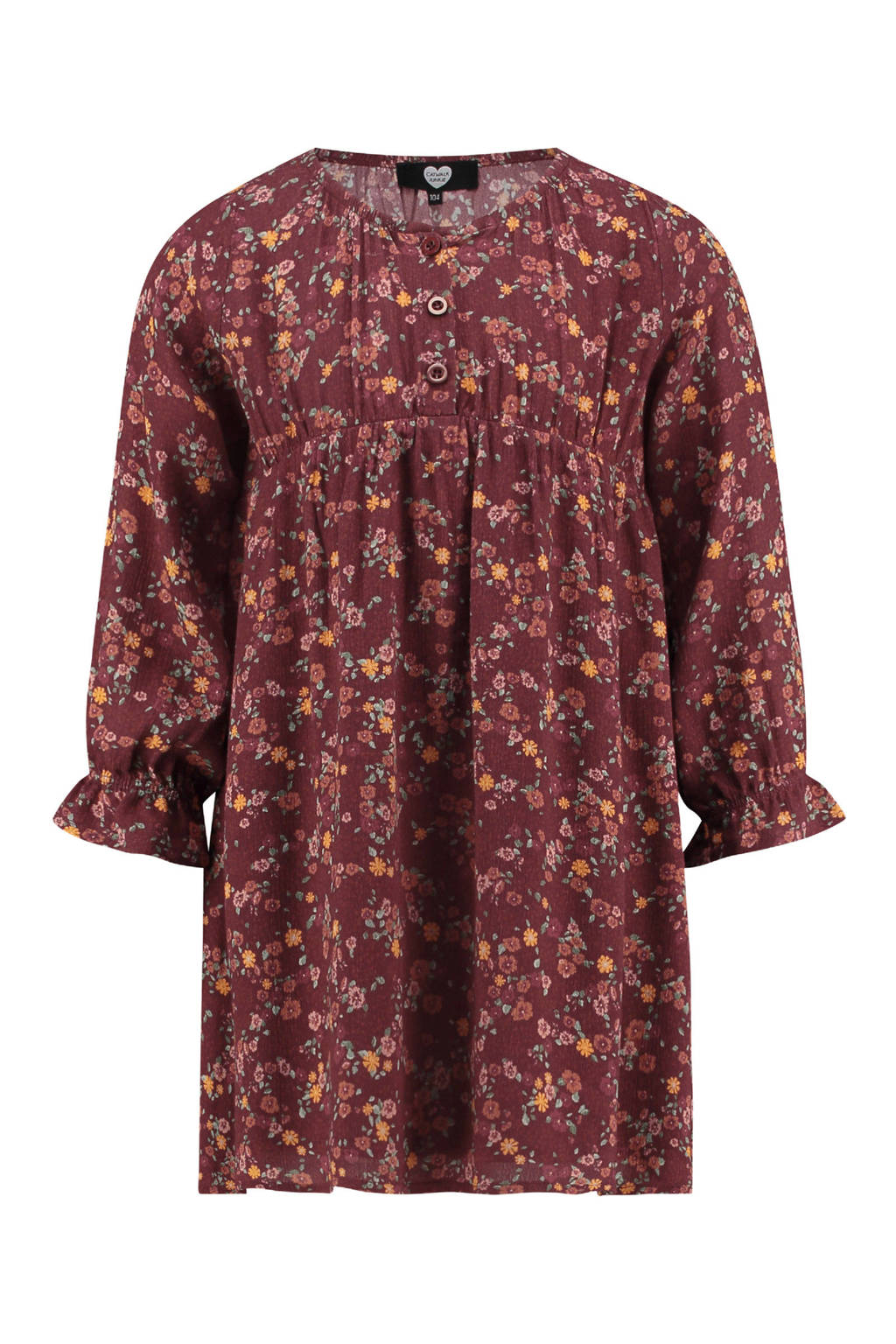 Catwalk Junkie x Huismuts gebloemde jurk rood, Donkerrood