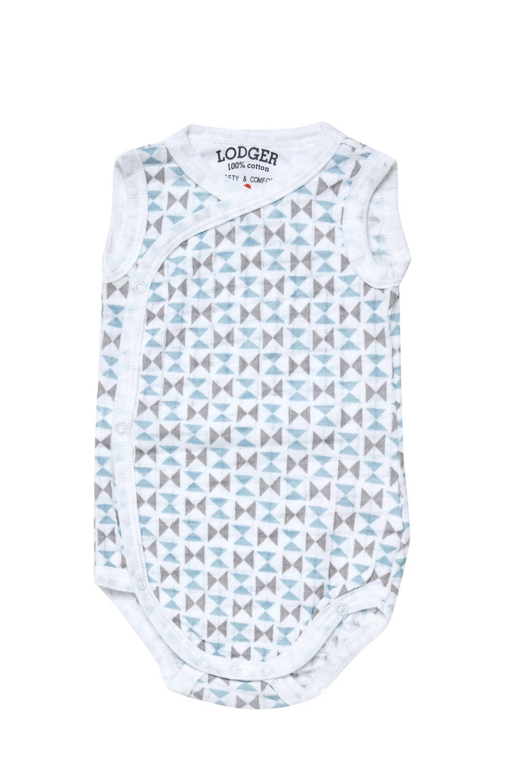 Lodger newborn baby romper Scandinavian, Wit/lichtblauw