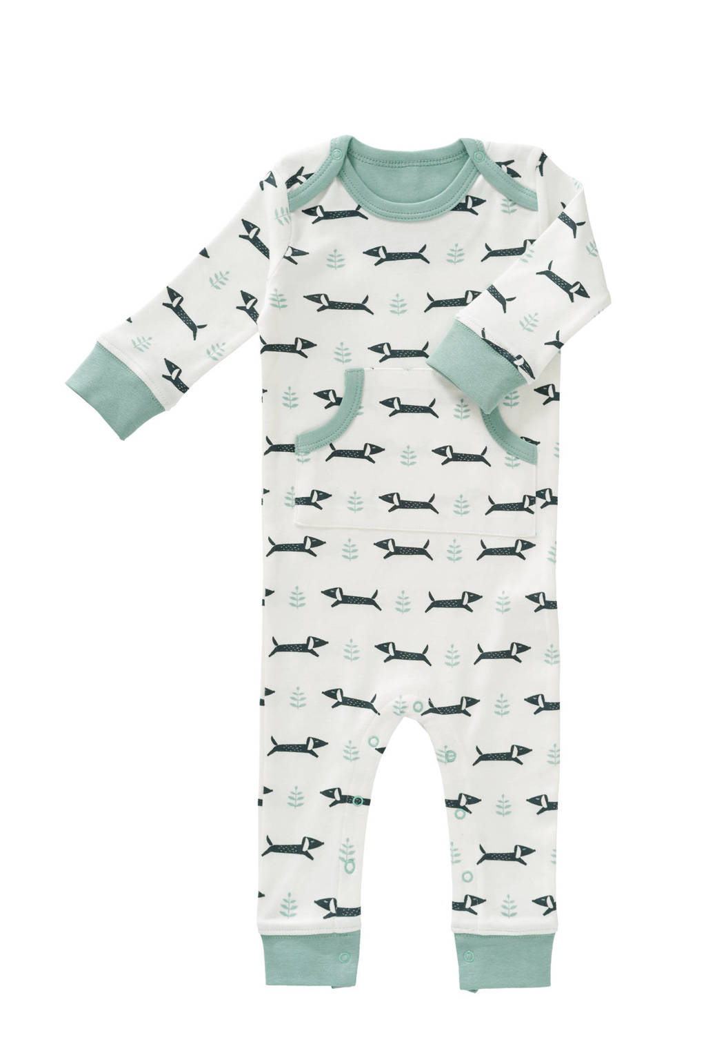 Fresk   newborn baby pyjama Dachsy wit, Wit/mint