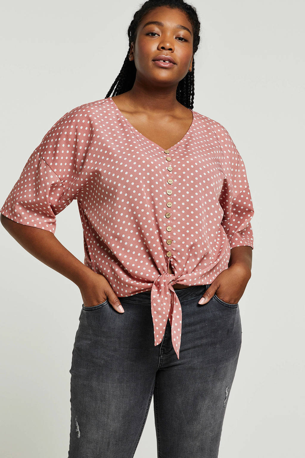 Studio Untold blouse met stippen roze, Roze/wit