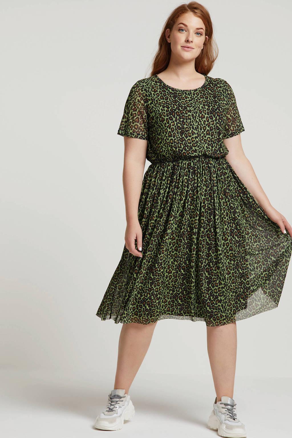Studio Untold jurk met panterprint groen, Groen