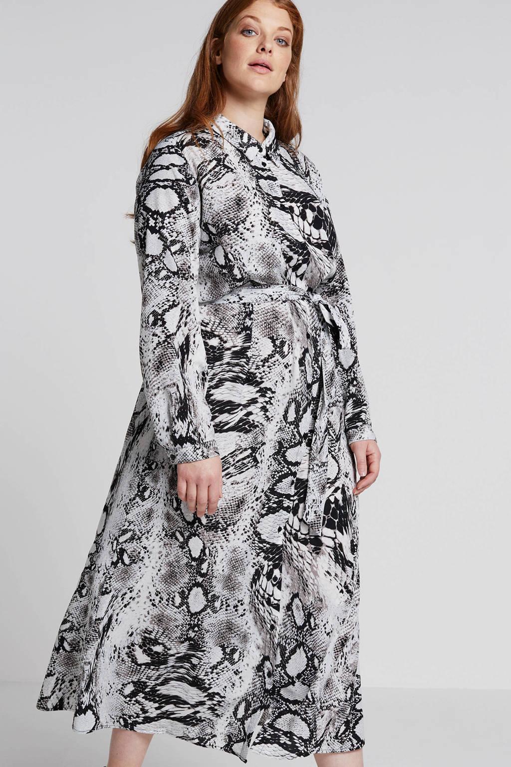 Studio Untold blousejurk met slangenprint grijs, Grijs/zwart/wit